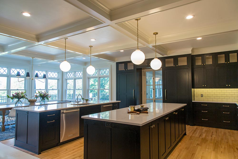 Historic Renovation Double Island Kitchen
