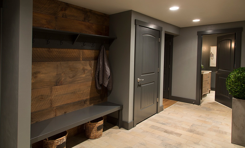 Cozy Lower Level Renovation Mudroom