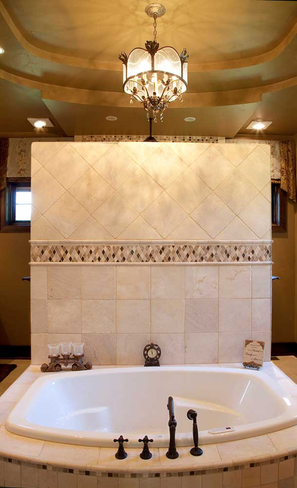 New Construction Italian English Blend Master Bathroom