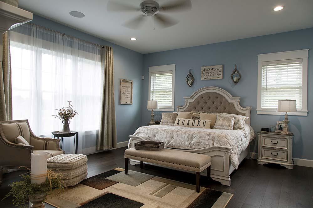 New Construction Northwoods Farmhouse Master Bedroom