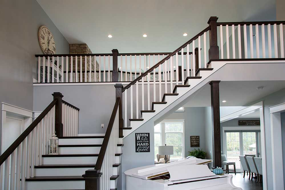 New Construction Northwoods Farmhouse Stairway